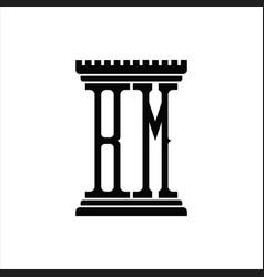 Bm logo monogram with pillar shape design template vector
