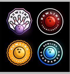 bowling circular logo set modern professional vector image