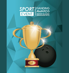 bowling sport ball and trophy vector image