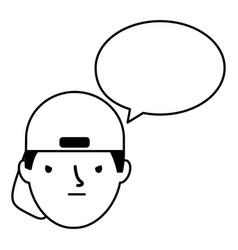 boy face sad speech bubble vector image
