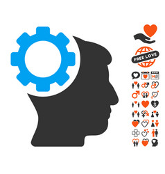 Brain gear icon with lovely bonus vector