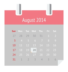 Calendar page for August 2014 vector image vector image