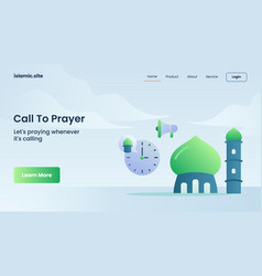 Call to prayer for website template landing vector