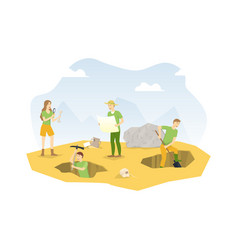 Cartoon color characters people and archeology vector