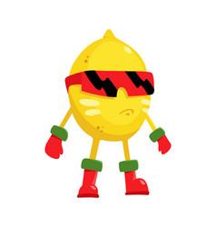 Cartoon flat character lemon superhero fruits vector