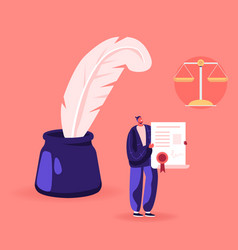 Character young lawyer stand at huge inkwell vector