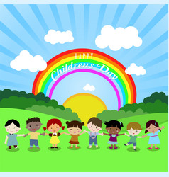 children kids boy girl rainbow happy nature family vector image