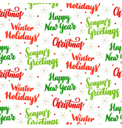Christmas holiday lettering seamless pattern vector