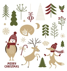 christmas set graphic elements and cute characters vector image