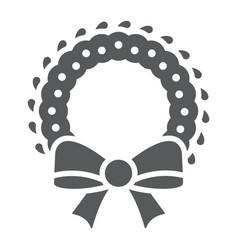 christmas wreath glyph icon xmas and winter vector image