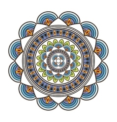 Circular multicolored decorative line mandala icon vector