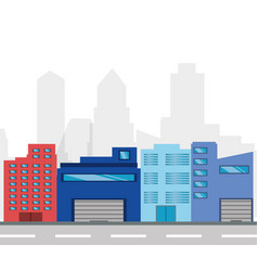 Cityscape building with street metropolis vector
