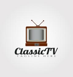 Classic television logo designtechnology icon vector
