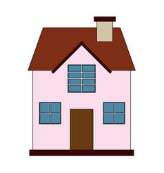 Color image cartoon facade confortable house with vector