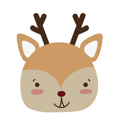 Colorful happy deer head wild animal vector