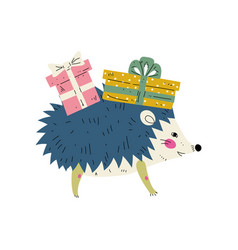 cute hedgehog wearing party hat with gift boxes vector image