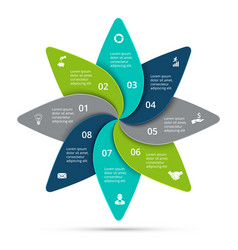 Cycle infographic with 8 options vector