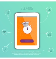 E-learning concept application with tablet vector