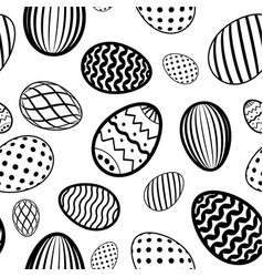 easter egg seamless pattern white black holiday vector image