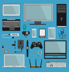 Electronic gadgets icons technology pc vector