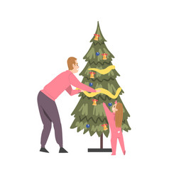 father and daughter decorating christmas tree vector image
