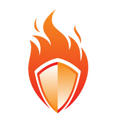 fire shield icon in abstract style on white vector image