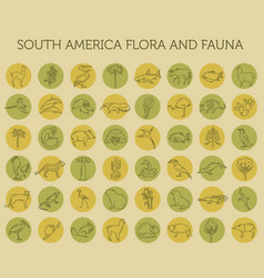 Flat south america flora and fauna elements vector