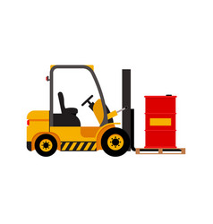 Forklift truck with lifted red barrel vector