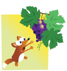 Fox and grapes vector