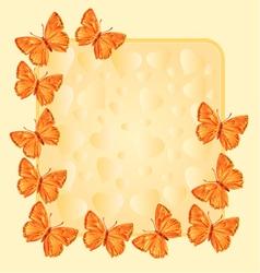 Frame with gold butterflies Lycaena virgaureae vector