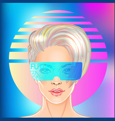 futuristic retro wave style party flyer template vector image