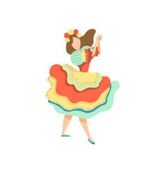Girl in colorful dress dancing at folklore party vector