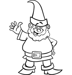 Gnome or dwarf cartoon for coloring book vector