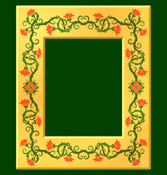 golden frame with floral pattern vector image