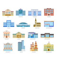 government flat houses bank hospital school vector image