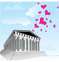 Greece acropolis with heart symbol of valentines d vector image