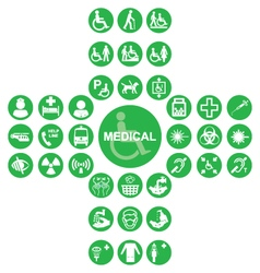 Green Medical and health care Icon collection vector