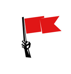 Hand holding a red flag vector
