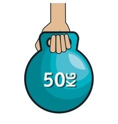 Hand holding kettlebell design vector