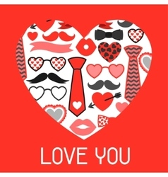 Happy valentines day greeting card Hipster vector image vector image