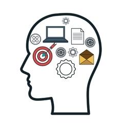 Head human profile think icon vector