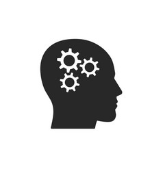 head with gears icon flat vector image