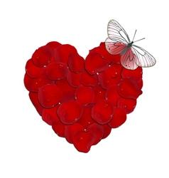 Heart rose petals vector