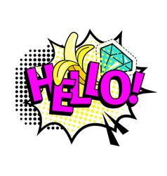hello pop art style colorful icon vector image