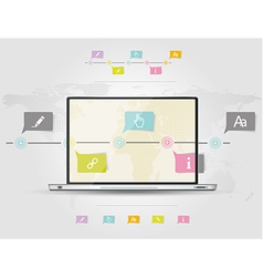 Infographic design template with laptop vector image