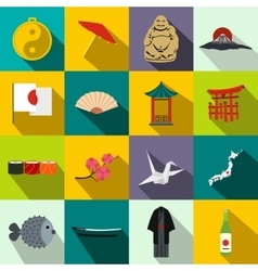 Japan icons set flat vector image