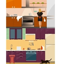 Kitchen interior with furniture in flat style vector