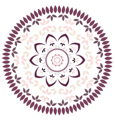 Leaf and petal floral mandala with radial symmetry vector