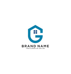 Letter g and home logo design vector
