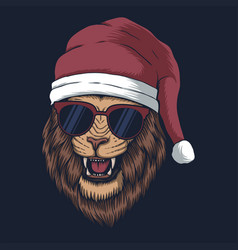 lion wearing a santa hat for christmas vector image